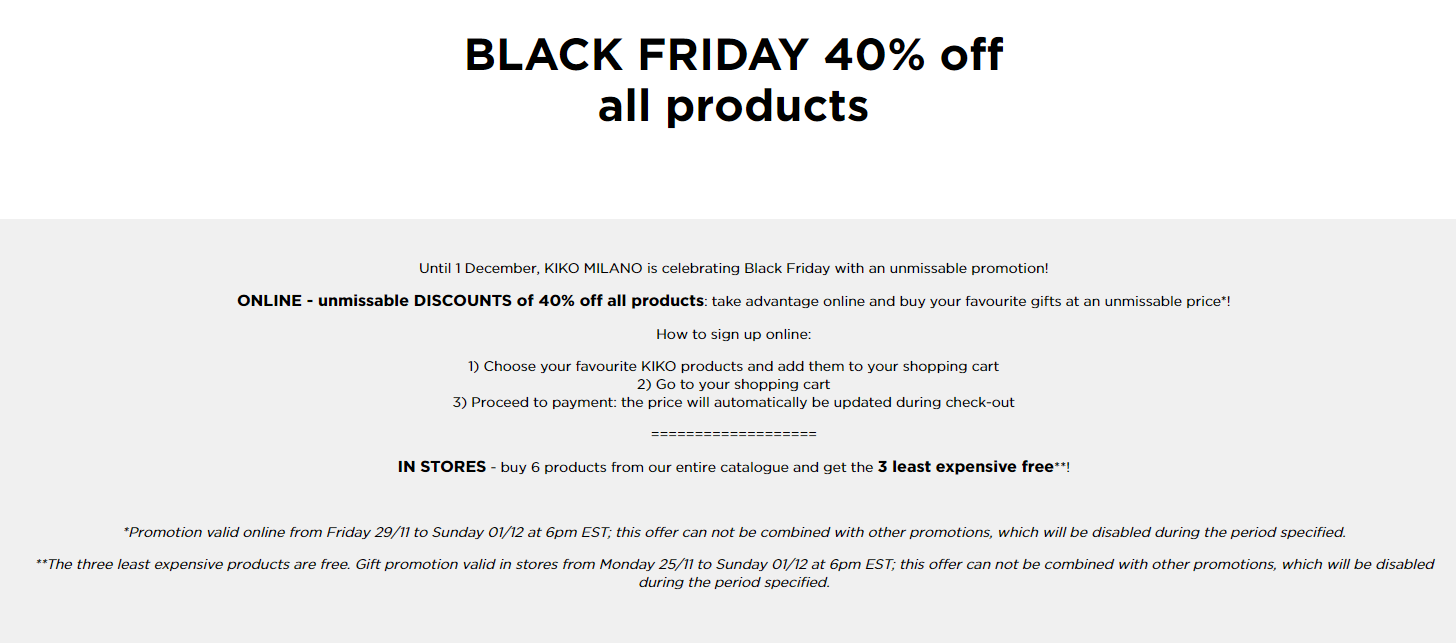 Kiko Cosmetics s Black Friday Sale 2019 2 - Kiko Cosmetics Black Friday 2020