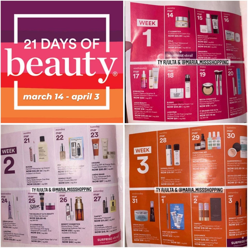 ULTA 21 Days of Beauty Spring 2021 March 14 April 3 50 off beauty steals - Ulta 21 Days of Beauty Event 2021